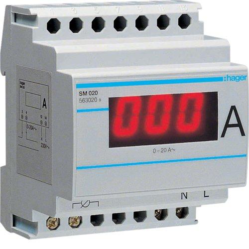 Hager SM020–Amperemeter Digital Lesung direkt 0–20A