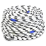 BTG Gear 100'x1/2' Marine Anchor Line/Rope w/Stainless Steel Thimble & Depth Markers, Boats up to 36'