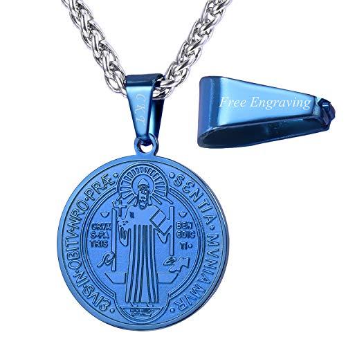 Colar com medalha de São Bento em ouro 18 K ou medalha sacramental cristã em aço inoxidável 316L presente católico para homens e mulheres, personalizável Medium