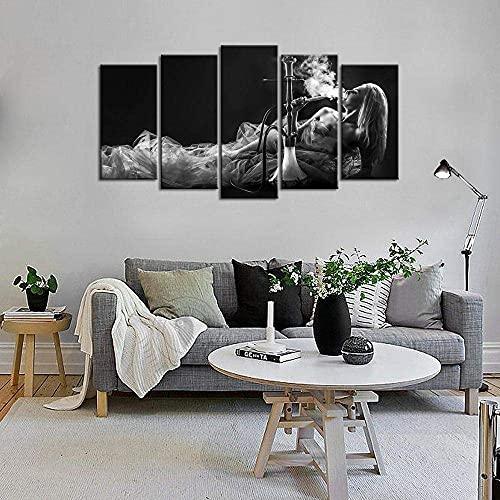 FTFTO Living Equipment Impresión de Pintura en Lienzo Arte de la Pared Hermosa Mujer fumando Foto en Blanco y Negro para Sala de Estar Dormitorio decoración de la Pared del Hotel |Pintura Mural |