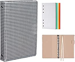 A6 Refillable Notebook Binder,6 Ring Planner Binder,Loose Leaf Personal Organizer Binder Journal,PU Leather Pocket Binder with 127 Sheets Graph Papers