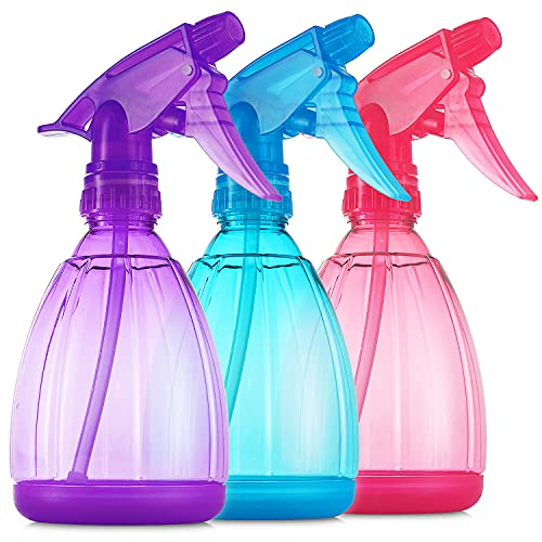 12 Oz Spray Bottles, Pack of 3 - Best Spray Bottles for Cleaning Solutions – Plant Mister Spray Bottle for Hair, Plants, Pets, Cooking - Adjustable Fine Mist to Stream - No-Leak BPA Free Squirt Bottle