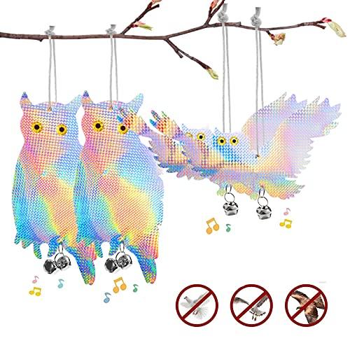 CEVILLAE 4PCS Spaventapasseri Gufo con Fantastico Ecologico e Repellente per Uccelli Del Dispositivo di Controllo Riflettente per Proteggere Piante e Giardino