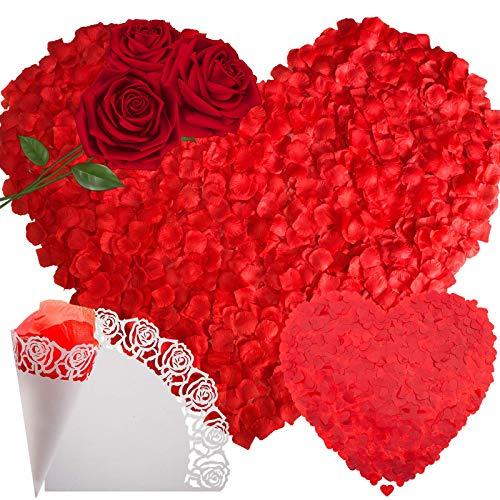 SNAILGARDEN 3000 Rosenblätter+1000 Rotes Herz Konfetti+6 Konfetti Kegel, Künstliche Rosenblätter Rot für Romantische Atmosphäre,Hochzeit,Valentinstag,Taufe,Geburtstag,Party