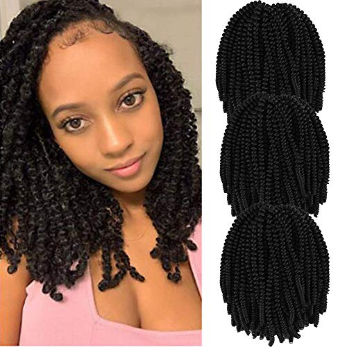 Spring Twist Crochet Braiding Hair 10 Inches 3 Packs 110g/Pack Bomb Twist Crochet Braids Ombre Colors Synthetic Fluffy Curly Hair Extensions 30 Strands (2#)