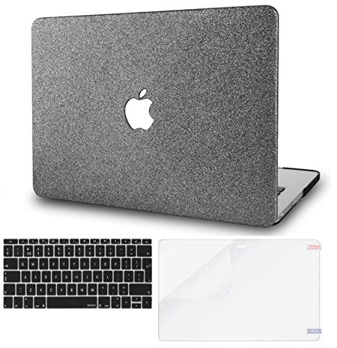 KECC MacBook Air 13' Case w/UK Keyboard Cover + Screen Protector A1466/A1369 (Grey Sparkling)