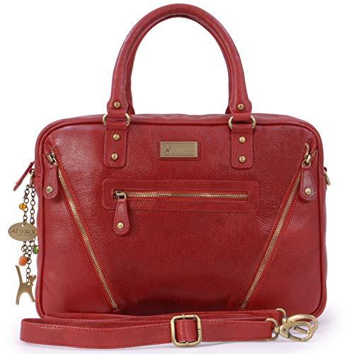 Catwalk Collection Handbags - Leder - Schultasche/Arbeitstasche/Aktentasche für Damen - Laptop/iPad - Vintage Leder - SIENNA - Rot