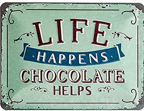 Nostalgic-Art Blechschild-Word Up-Life Happens-Chocolate Helps, Geschenk-Idee für Retro-Fans, zur Dekoration, 15 x 20 cm, aus Metall, Vintage-Design mit Spruch