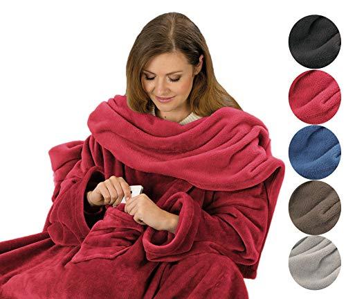PremiumShop321 Kuscheldecke mit Ärmel in Komfortgröße 150 x 240 cm Ärmeldecke mit Brusttasche (rot)