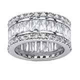Emerald-Cut White Cubic Zirconia Platinum over .925 Sterling Silver Eternity Band Size 12