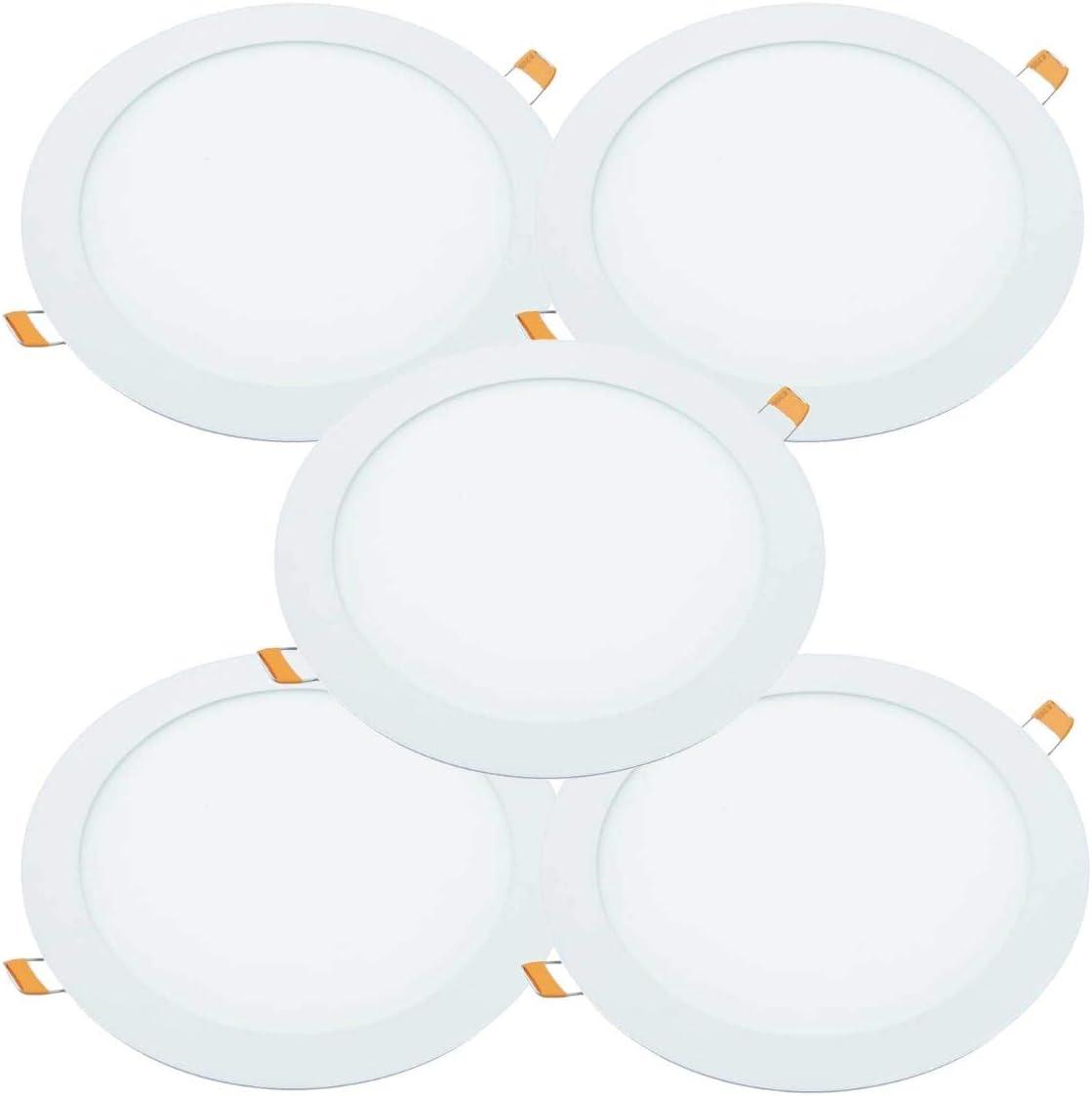JANDEI - 5x Downlight LED 18W Redondo Plano De Empotrar, Aluminio Aro Blanco Mate, Para Hueco De 200-205mm Blanco [Clase de eficiencia energética A+] ...