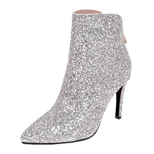 MISSUIT Damen Stiletto Glitzer Stiefeletten High Heels mit Reißverschluss Hinten und Pailletten Spitze Ankle Boots Hochzeitsschuhe(Silber,39)