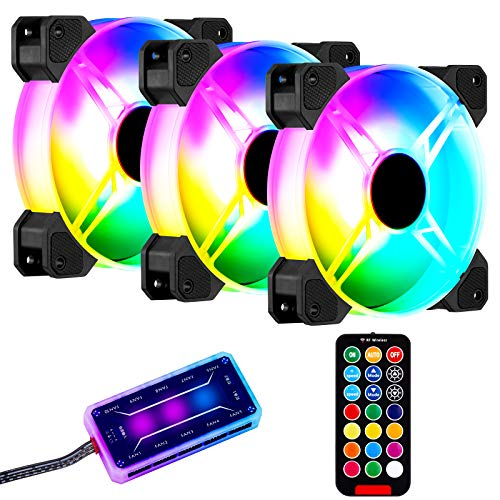 Paquete de 3 ventiladores RGB AURTEC para carcasa, ventiladores de refrigeración de chasis RGB ultra silenciosos de 120 mm, ventilador enfriador colorido de velocidad ajustable para carcasa de PC