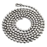 100pcs Nickel Plated Ball Chain Necklace,30 Inches Long 2.4mm Bead Size # 3 Metal Bead Steel Chain, Military Bead Chain, Dog Tag Necklace by Special100%