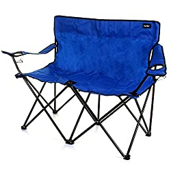 Traditional style Camping Chair - in 2 seater form! Robust & Durable Steel Tubular Frame Scissor Style Folding Frame Includes Carry Bag for Storage & Transport 2 Seater Design