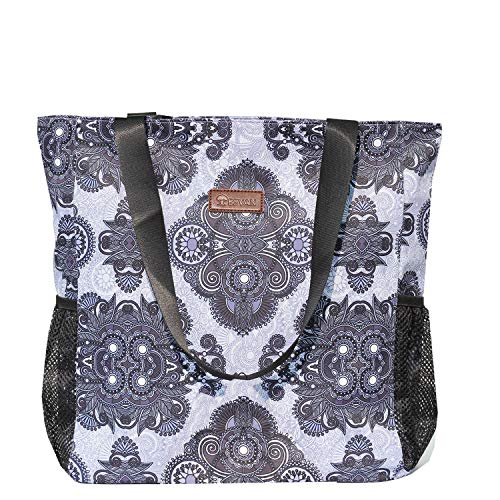Original Floral Water Resistant Large Tote Bag Shoulder Bag for Gym Beach Travel Daily Bags Upgraded ([L] Pattern)
