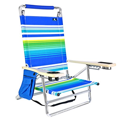 Deluxe 5 pos Lay Flat Aluminum Beach Chair w/Cup Holder 250 lb Load Capacity