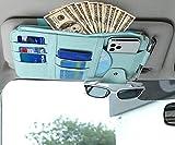 Simplux Car Sun Visor Organizer, Auto Interior Accessories Pocket Organizer Registration and Document Pouch Holder, Multi-Pocket Vehicle Visor Storage for Cars SUVs Trucks Vans (Blue)