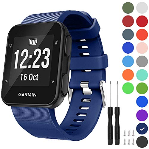 GVFM Band Compatible with Garmin Forerunner 35, Soft Silicone Replacement Watch Band Strap for Garmin Forerunner 35 Smart Watch, Fit 5.11-9.05 Inch (130-230 mm) Wrist (Navy)