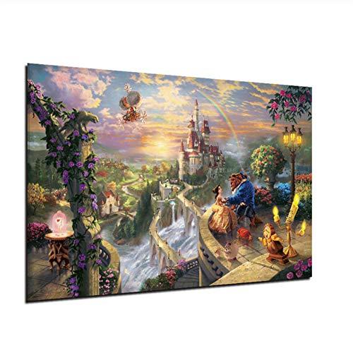 Lienzo La bella y la bestia se enamora Arte de la pared Pintura en lienzo Carteles e impresiones n/órdicos Cuadro de pared para la decoraci/ón de la sala de estar-50x70cm Sin marco