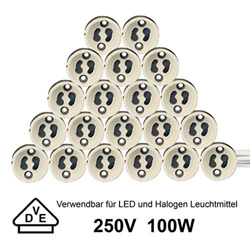 Preisvergleich Produktbild EACLL GU10 Lampenfüße Sockel,  Lampenfassung aus Keramik,  mit Hochwertigem Silikonkabel,  Anschließen Fassungen für GU10 LED Lampen und Halogen,  20 Stück