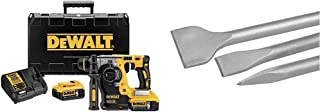 DEWALT DCH273P2-GB 18 V XR Brushless 24 mm, 2 kg SDS-Plus Hammer, 2 x 5 Ah & SDS-Plus Chisel Set (DT60330); SDS-Tool Holde...