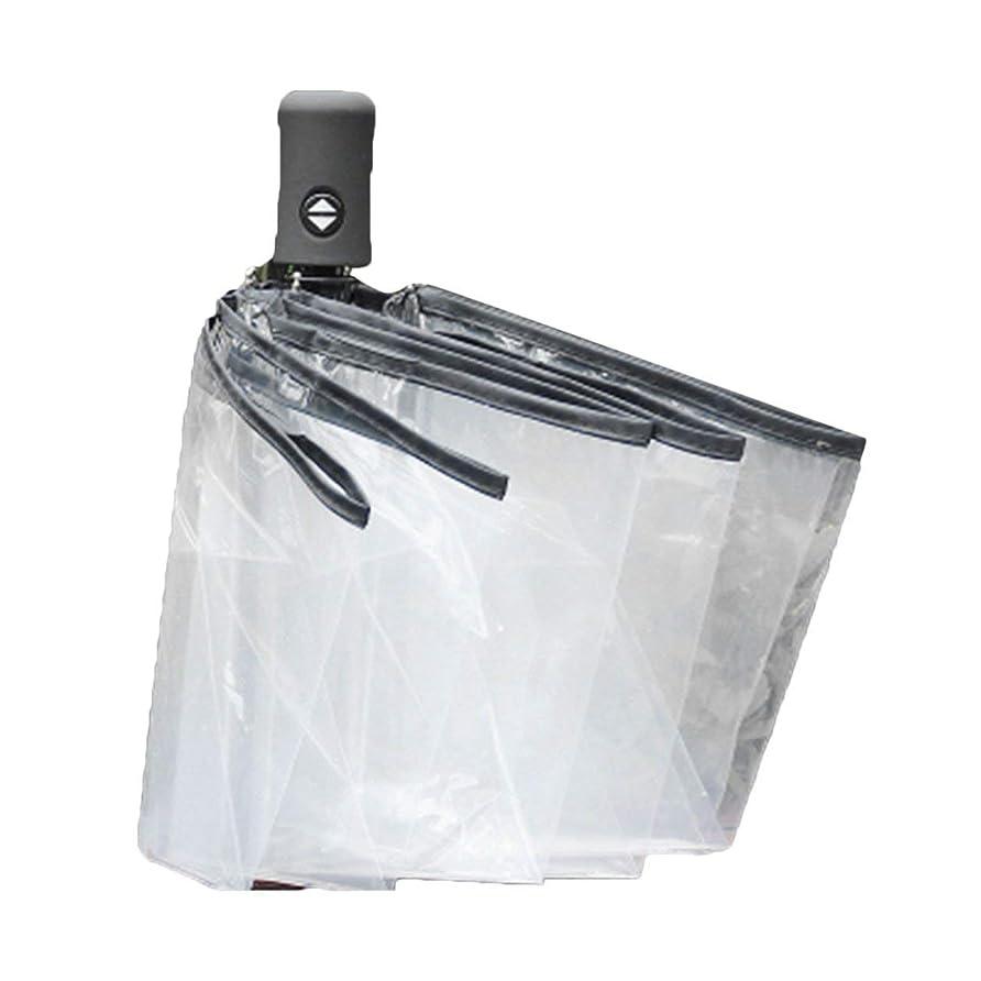 割り当てますサリー島Saikogoods コンパクト 全自動傘 三の折りたたみ 防風性 クリア傘女性男性8リブ防雨透明な傘のギフト 黒