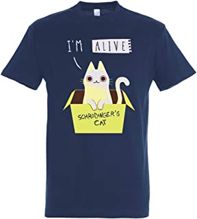 Pampling T-Shirt Schrodinger's Night - Shine in The Dark! - Maglietta Gatto - Scienza - Cotone 100% - Serigrafia di Alta q...