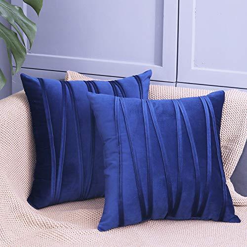Federa decorativa in velluto a righe per divano coach piazza federe per cuscino per soggiorno camera da letto auto ste di 2 dimensioni 45,5 x 45,5 cm (blu navy)