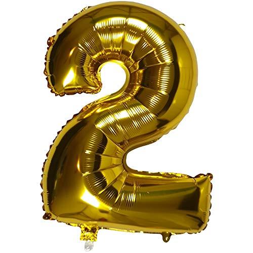 DIWULI, XL número de Globos, número 2, Globos de Oro, número de Globos de Oro, Globos de Papel de Aluminio número no años, Globos de Papel de Aluminio 2º cumpleaños, Boda, Fiesta, decoración