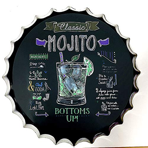 SKYNINE INC Tin Teken Fles Cap Bar Klassieke Mojito Bottoms Up Fabulous Cocktail Vintage Metalen Tin Teken Muurdecoratie voor Bar/Cafe/Home Keuken/Restaurant/Garage/Man Grot/Lounge/Outdoor Decor 13,8 inch.