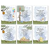 Winnie the Pooh Prints with Quotes Watercolor Prints Wall Art Prints Set of 6,8x10 Unframed,Cute Winnie the Pooh Nursery Decor Wall Art for Girls Kids Baby