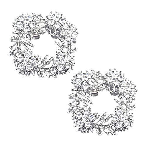 Eleganti decorazioni di cristallo Clip da donna Scarpe con strass Charms Morsetto quadrato Fibbia Scarpe da sposa Accessori Argento 2 Pz