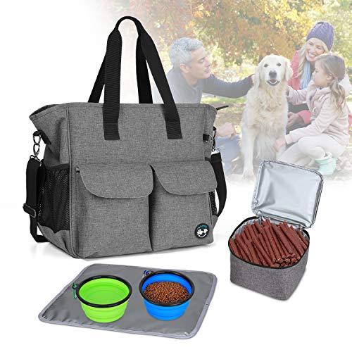 Teamoy Dog Reisetasche für Hunde, Wochenauswärts, Tragetasche, inklusive 2 faltbaren Silikon-Schüsseln, 1 Futter-Tragetasche, 1 wasserabweisendes Platzset, grau