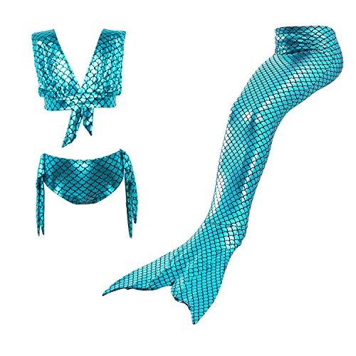 Starjerny 3PS Mädchen Cosplay Kostüm Badenbkleidung Meerjungfrauen Schwimmanzug Badeanzüge Meerjungfrauenschwanz für Schwimmen Kinder Farbewahl, Türkis, 120cm (8-9 Jahre)