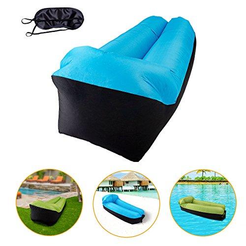 KeepSa Adult Air Outdoor, ligstoel, luchtbed met geïntegreerd kussen en oogschaduw, luchtzak strand, luchtbank uit, zelf opblaasbare sofa voor zwemmen, reizen, kamperen, blauw zwart, 1