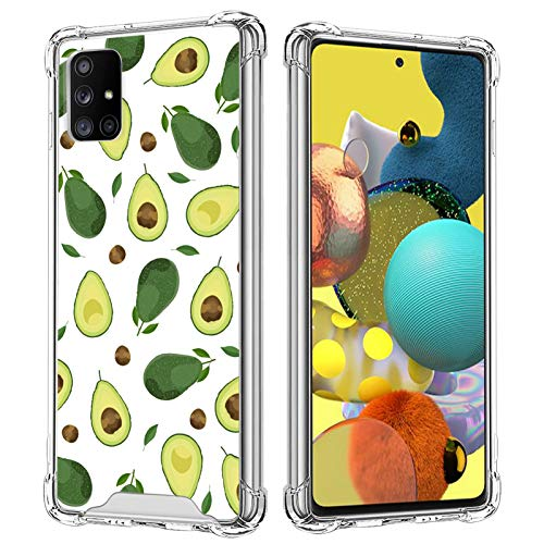 Cute Avocado Clear Case for Samsung Galaxy A51 5G Fruits Pattern Design Transparent Soft TPU Shockproof Anti-Fall Hard PC Scratch-Proof 360 Degree Heavy Duty Protective Wireless Cover for Women Girls