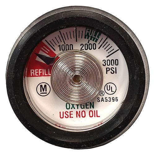 Cylinder Contents Read Gauge New for Oxygen Cylinders with UP to 3000 PSI, 1/8' NPT Center Back Mount