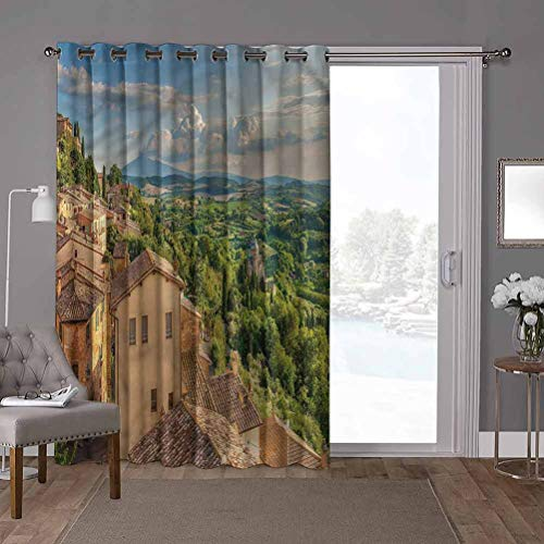 YUAZHOQI Thermal Sliding Door Blackout Curtain, Tuscan,Cypresses Forest Hills Sky, W100 x L96 Inch Privacy Protect for Living Room(1 Panel)
