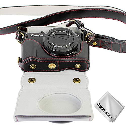 Negro Funda Cámara Cuero de la PU cámara Digital Bolsa Caso Cubierta con Correa para Canon PowerShot G7X Mark II XJD-G7X II-HH01