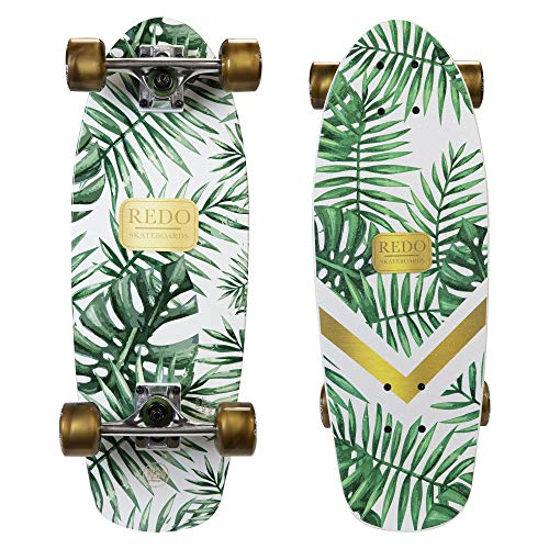 ReDo Skateboard Kids 8.25' Green Palm Shorty Cruiser Complete Skateboard, White/Green