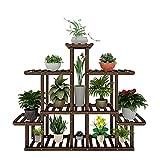 FancoYard Wood Plant Stand Indoor Outdoor, Large Multi Tiered Flower Plant Shelf Holder Garden Display Planter Sturdy Organizer Rack for Living Room Corner Balcony Patio Decor, Brown (13 Flowerpots)