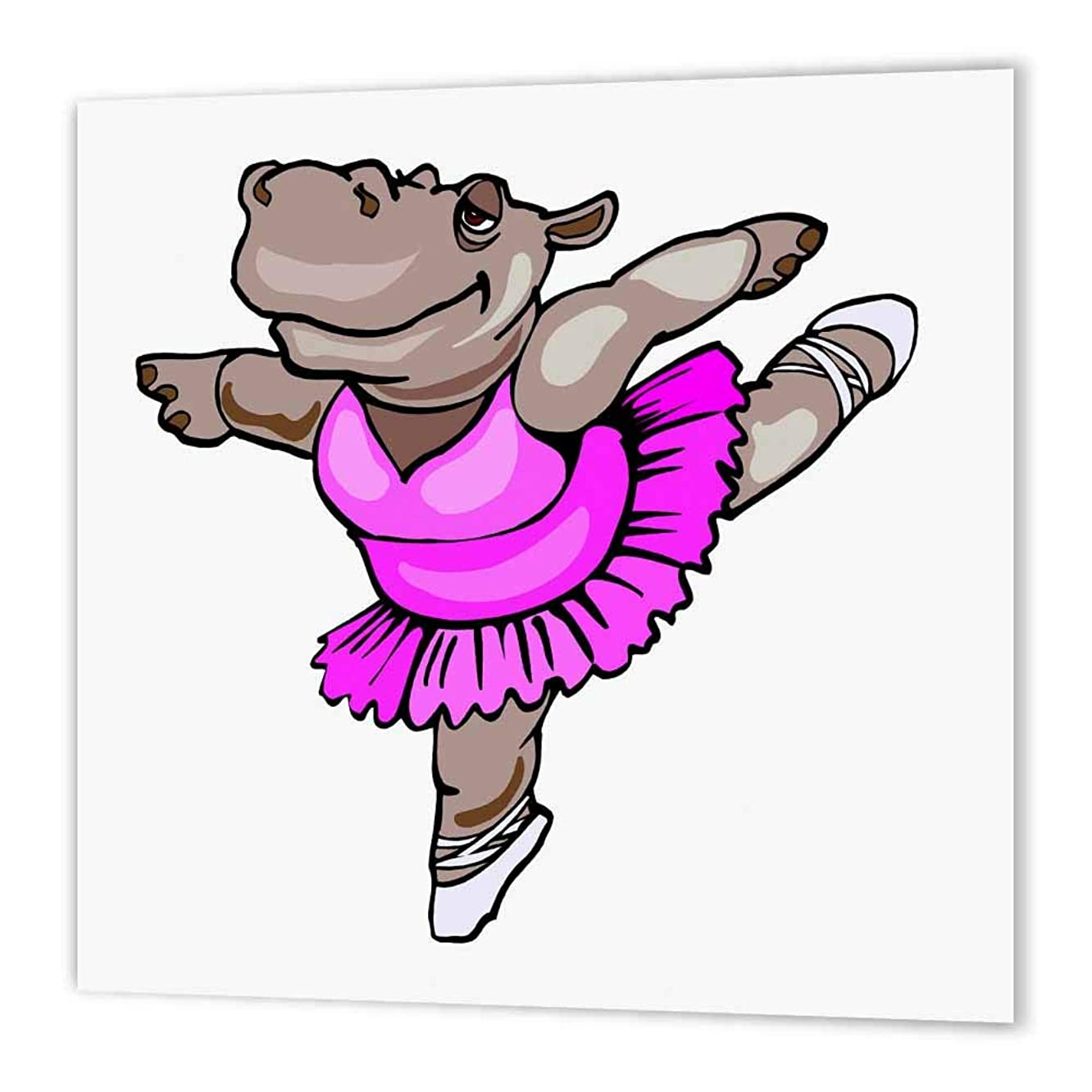 3dRose ht_48519_1 Hippo Ballet Dancer-Iron on Heat Transfer Paper for White Material, 8 by 8-Inch