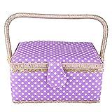 HEEPDD Sewing Basket, Purple Color Handmade Vintage Sewing Basket Fabric Craft Basket Thread Needle Storage Box Sewing Kit Storage Box for Storage Sewing Kit