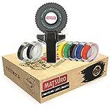 Matsuro Original | Mini SCHWARZ 3D Etikettenprägegerät M-101 mit 7 Etiketten | Praktischer manueller DIY Organizer mit 43 Symbolen | Dreh und Klick System | Drucken und Schneiden
