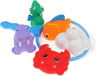 MagiDeal Set of 6 Mini Multi-Color Squeaky Ocean Animal with a Blue Handle Fish Net, Kids Baby's Bath Time Squirting Toy Gift