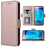 Phone Case for Samsung Galaxy A8 Folio Flip Wallet Case,PU Leather Credit Card Holder Slots Heavy Duty Full Body Protection Kickstand Protective Phone Cover for GalaxyA800 A 8 2015 Men Rose gold