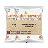 Safe harvests sona masuri raw rice is pesticide free, herbicide free and grown using indigenous seeds. Tested free for pesticide residues in fssai accredited laboratories. To be stored under cool and dry conditions Shelf LIfe: 303 Days Quantity: 10 k...