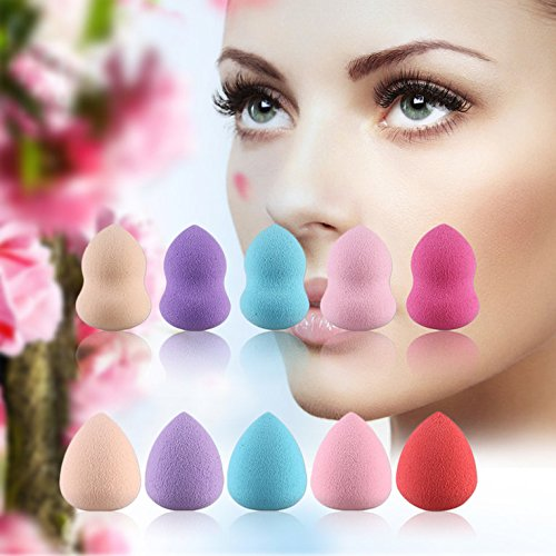hexingshan 10pcs Drop and Gourd Shaped Makeup Sponge Blender Puff Flawless Powder Puff