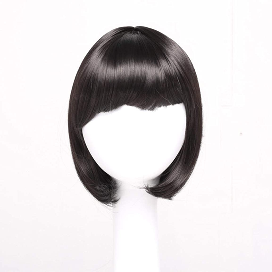 きれいに増加する単独でSummerys レディースブラックショートストレートヘアー前髪付き前髪ウェーブヘッドかつらセットヘッドギア (Color : Navy brown)